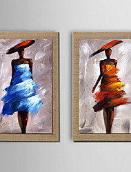 Oil Painting Decoration Abstract Character Hand Painted Natural linen with Stretched Framed - Set of 2