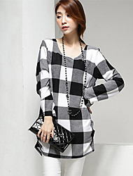 Women's Casual/Daily Simple Spring Blouse,Check Round Neck Long Sleeve Black Cotton Thin