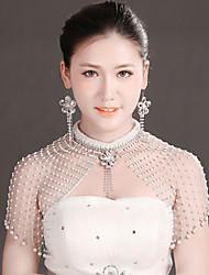 Bride Wedding White Mesh Diamond Noble Flower Earring Epaulet Set