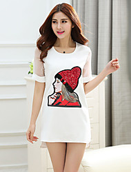 Women's Casual/Cute/Plus Sizes Sequins Stretchy Short Sleeve Mini Dress (Cotton/Polyester)