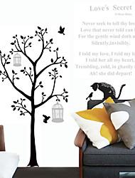 adesivos de parede parede decalques, desenhos animados cartas árvore do gato preto pvc adesivos de parede