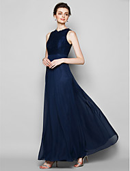 Lanting Bride® Floor-length Chiffon / Lace Bridesmaid Dress - Sheath / Column Jewel Plus Size / Petite with Lace