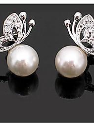 Boucle d'oreille de solitaire Boucle Argent Imitation de perle/Strass Femme