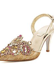 Calçados Femininos Renda Salto Agulha Bico Fino Sandálias Social/Festas & Noite Dourado