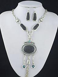 toonykelly® prata da antiguidade do vintage de turquesa vulcão lava rocha (brinco e colar) Conjunto de jóias
