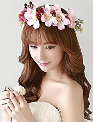 Femme / Jeune bouquetière Polyester / Caoutchouc / Résine / Tissu Casque-Mariage / Occasion spéciale / Extérieur Fleurs / Couronnes1