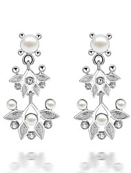 BIO Women's Korean-style Good Quality Inlaid Pearls Drop Earrings