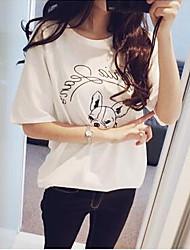 婦人向け ラウンドネック Tシャツ , コットン 半袖