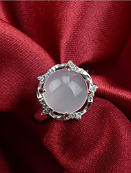 S925 Sterling Silver Ring Inlaid Natural Chalcedony Hypoallergenic Flower Jade Opening Ring
