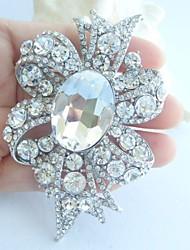 Women Accessories Wedding Silver-tone Clear Rhinestone Crystal Flower Bridal Brooch Wedding Deco Crystal Brooch Bouquet