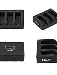 DUALANE 3-Port USB Battery Charger for GoPro Hero 4 / 3+ / 3 - Black