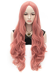 80cm U Party Curly Cosplay Party Wig Multi colors available Pink Color