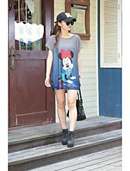 Damen Druck Einfach / Street Schick Lässig/Alltäglich T-shirt,Rundhalsausschnitt Sommer Kurzarm Blau / Rosa Seide Dünn