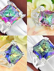 classique feu de cadeau de famille arc carré topaze mystique bijou 925 anneaux du compte de l'argent pour la noce 1pc casual quotidienne
