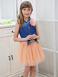 Girl's Summer/Spring/Fall Micro-elastic Sheer Skirts (Cotton Blends/Mesh)