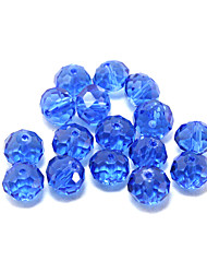 Beadia 120PCS Fashion Glass Facetted Beads 6x8mm Flat Round Shape Blue Color DIY Spacer Loose Beads