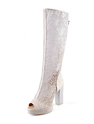Women's Shoes Synthetic/Tulle/Rubber Stiletto Heel Heels/Peep Toe/Bootie/Closed Toe Boots Party & Evening/Dress/Casual