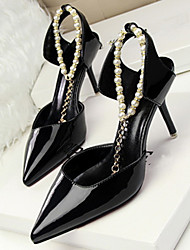 Women's Shoes Leatherette Low Heel Heels/Pointed Toe Pumps/Heels Casual Black/White
