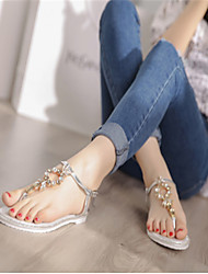 Women's Shoes Faux Leather Low Heel T-Strap Sandals Casual Silver/Gold