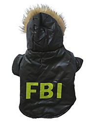 Stylish FBI Pattern Winter Vest with Hoodie for Pets Dogs (Assorted Sizes)