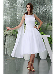 A-line Tea-length Wedding Dress -Jewel Satin