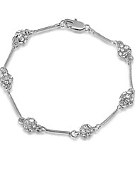 T&C Women's Concise Design Jewelry 18K White Gold Plated 6 Pieces Clear Crystal Ball Link Bracelets For Party