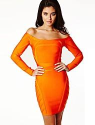 Cocktail Party Dress - Orange Petite Sheath/Column Bateau Short/Mini Spandex / Rayon / Nylon Taffeta