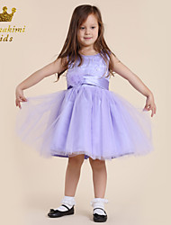 Girl Purple Tulle Soutache With Flower Holiday Dress