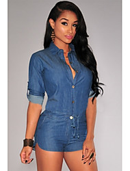 2015 Sexy Summer style rompers womens jumpsuit Club short Jumpsuits Denim long Sleeve Romper Bodycon bodysuit