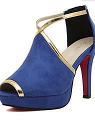 Women's Shoes Velvet Stiletto Heel Heels/Peep Toe Sandals Party & Evening/Dress/Casual Black/Blue/Red