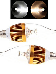 2 pcs Ding Yao E14 9W 3LED COB 150-250LM 2800-3500/6000-6500K Warm White/Cool White Candle Bulbs AC 85-265V
