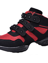 Non Customizable Kids' Dance Shoes Dance Sneakers/Modern/Gymnastics Leather/Fabric Chunky Heel Black/Red
