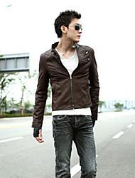 Men's Leather  Bomber in Korean Style Slim Jacket
