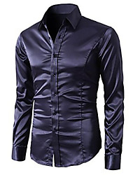 Men's Sexy/Fashion/Casual/Work/Formal/Plus Sizes Night Club Design Pure Long Sleeve Shirt