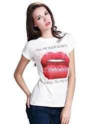 De las mujeres Camiseta Escote Redondo - Algodón - Manga Corta