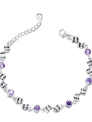 Jazlyn® Authentic Platinum Plated 925 Sterling Silver Woman Polished Water Weave Purple Cubic Zirconia Link Bracelet