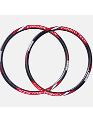 NEASTY Brand  New Process Seamlessly  Red+White Decal Full Carbon Fiber MTB Bicycle Rim Height=28mm Width=27mm