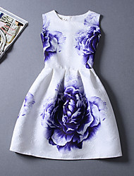 Women's Jacquard Purple Rose Cotton Casual Above Knee Dress