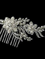 Charming Wedding Party Bride Flower Austria Crystal Pearls Handmake Silver Combs Hair Accessories