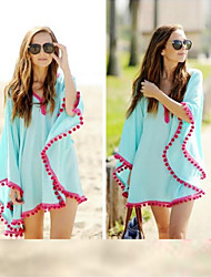 Women's Casual V-Neck Long Sleeve Dresses (Cotton Blend)