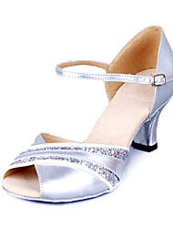 Women's Dance Shoes Latin Leatherette Low Heel Silver/Gold
