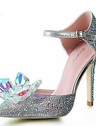 Women's Shoes Synthetic/Glitter Stiletto Heel Heels/Pointed Toe Pumps/Heels Wedding/Party & Evening/Dress Silver