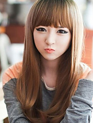 Japan and South Korea Fashion Light Brown Neat Bang  Curly Hair Wig