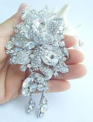 Wedding Accessories Silver-tone Clear Rhinestone Crystal Bridal Brooch Wedding Deco Flower Brooch Bouquet Bridal Jewelry