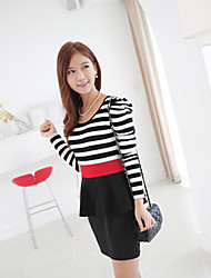 Women's Bodycon/Casual/Party/Work Round Long Sleeve Dresses (Knitwear)