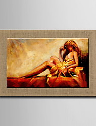 Oil Paintings One Panel Modern Abstract Nudes Hand-painted Natural Linen Ready to Hang