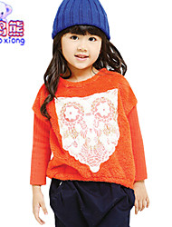 Waboats Winter Girls Jointed Printed Hood Lace Top