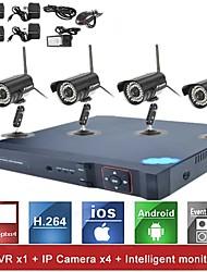 4-канальный H.264 сетевой видеорегистратор NVR система Комплект (4шт 1.0Mp мини ONVIF Водонепроницаемая камера IP), p2p