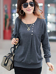 Women's Casual Stretchy Long Sleeve Regular Blouse (Cotton Blends)