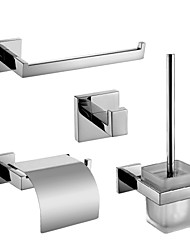 Badezimmer Zubehörset/Handtuchringe/Klosettpapierrollehalter/Robehaken/Toilettenbürstehalter Zeitgenössisch - Wand befestigend